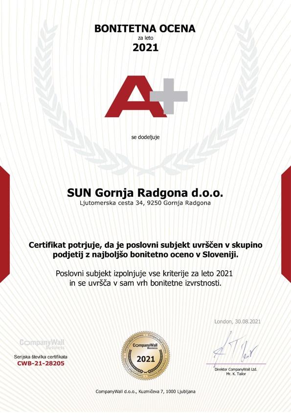 SUN Gornja Radgona d.o.o. Bonitetna ocena A+